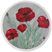 Round Beach Towel featuring the painting Poppies In The Mist by Sharyn Winters