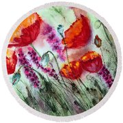 Poppies In The Wind Round Beach Towel by Maria Barry