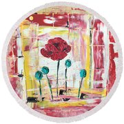 Poppies In The Window Round Beach Towel