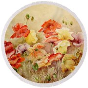 Poppies Round Beach Towel by Marilyn Zalatan