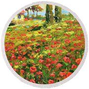 Poppies Near The Village Round Beach Towel