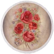 Poppies Of Memory Lane Round Beach Towel