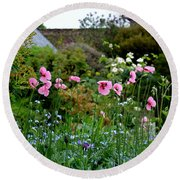 Poppies Of The Great Dixter Round Beach Towel by Tanya Searcy
