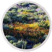 Round Beach Towel featuring the photograph Poppies On A Hillside by Glenn McCarthy Art and Photography