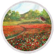 Poppies Time Round Beach Towel