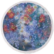 Poppies, Wisteria And Marguerites Round Beach Towel