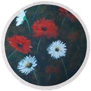 Round Beach Towel featuring the painting Poppin Daisies by Leslie Allen