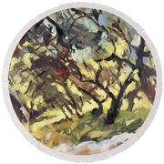Popping Sunlight Through The Olive Grove Round Beach Towel