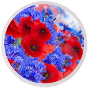 Poppy And Cornflower Flowers Round Beach Towel