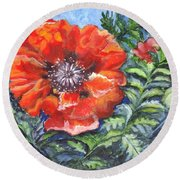 Poppy Brilliance Round Beach Towel by Carol Wisniewski