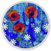 Poppy Dance Round Beach Towel