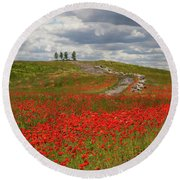 Poppy Field 2 Round Beach Towel