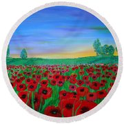 Poppy Field At Sunset Round Beach Towel