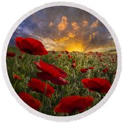 Poppy Field Round Beach Towel