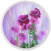 Poppy Haze Round Beach Towel