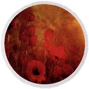 Poppy Heaven Round Beach Towel