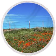 Round Beach Towel featuring the mixed media Poppy Hill- Art By Linda Woods by Linda Woods