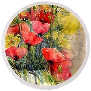 Poppy Impression Round Beach Towel
