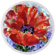 Poppy In Fields Of Lavender Round Beach Towel