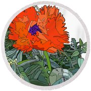 Poppy Round Beach Towel