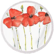 Red Poppy Play Round Beach Towel