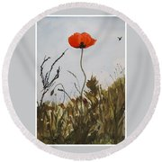 Poppy On The Field Round Beach Towel