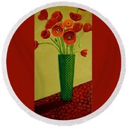 Round Beach Towel featuring the painting Poppy Power by Nancy Jolley