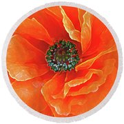 Poppy Red Round Beach Towel
