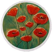 Round Beach Towel featuring the painting Poppy Surprise by Leslie Allen