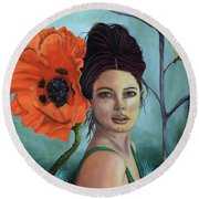 Poppy Updated Photo Round Beach Towel