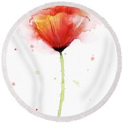Poppy Watercolor Red Abstract Flower Round Beach Towel