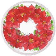 Poppy Wreath Round Beach Towel