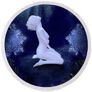 Porcelain Moon Round Beach Towel