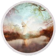 Porcelain Skies Round Beach Towel