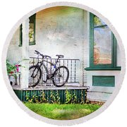 Porch And Window Fan Bicycle Round Beach Towel by Craig J Satterlee
