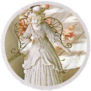Porch Angel In The Fall Round Beach Towel