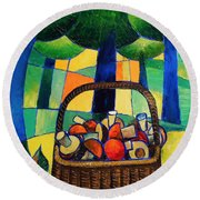 Porcini Round Beach Towel