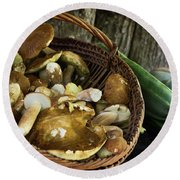 Porcini Mushrooms, Zucchini And A Pumpkin Round Beach Towel by IPics Photography