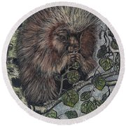 Porcupine In Aspen Round Beach Towel