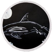Round Beach Towel featuring the drawing Porpoise Sillhouette by Mayhem Mediums