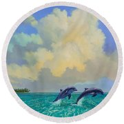 Round Beach Towel featuring the painting Porpoiseful Play by David  Van Hulst