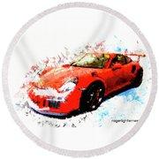Porsche 911 Gts Round Beach Towel