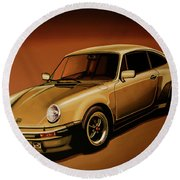 Porsche 911 Turbo 1976 Painting Round Beach Towel
