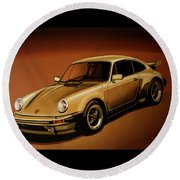 Porsche 911 Turbo 1976 Painting Round Beach Towel