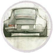 Porsche 911 Rs Round Beach Towel
