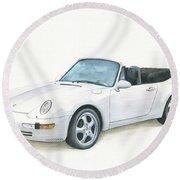 Porsche 993 Cabrio Round Beach Towel