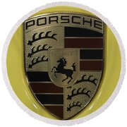 Porsche Emblem On Racing Yellow Round Beach Towel by Sebastian Musial