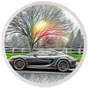 Round Beach Towel featuring the photograph Porsche Gt In Oil by Aaron Berg