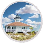 Round Beach Towel featuring the painting Port Boca Grande Lighthouse by Christopher Arndt