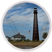 Port Bolivar Lighthouse Round Beach Towel